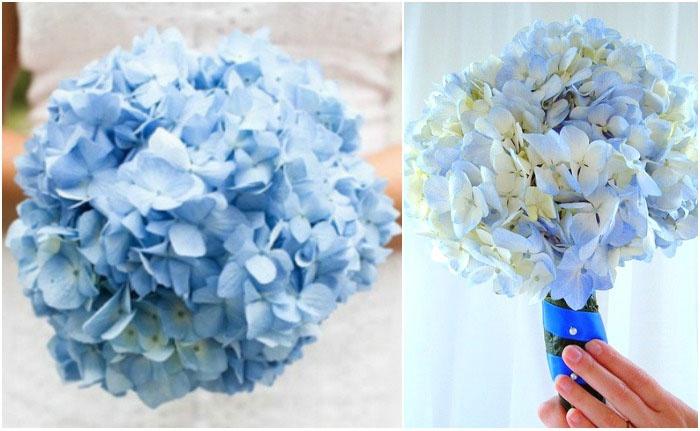 Монобукет с голубыми соцветиями