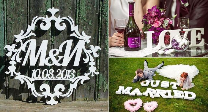 Объемные пенопластовые буквы для свадьбы