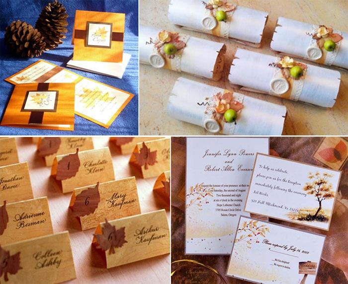 Идеи пригласительных для осенней свадьбы