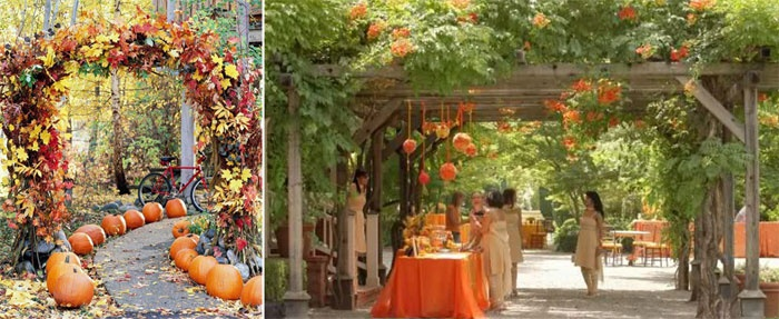 Осенняя свадьба в саду