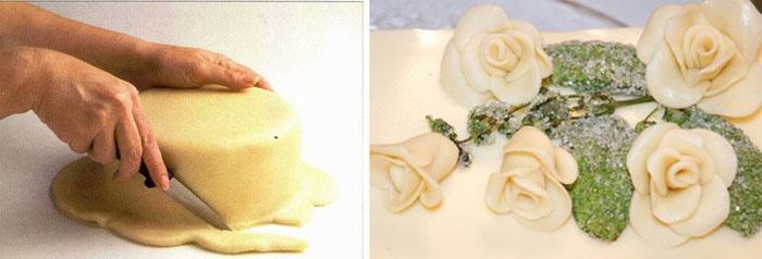 Обертывание бисквита мастикой для свадебного торта