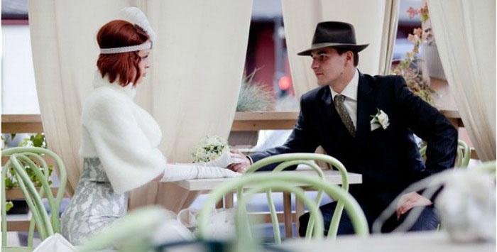 Фотосессия молодоженов на свадьбе стиля Чикаго