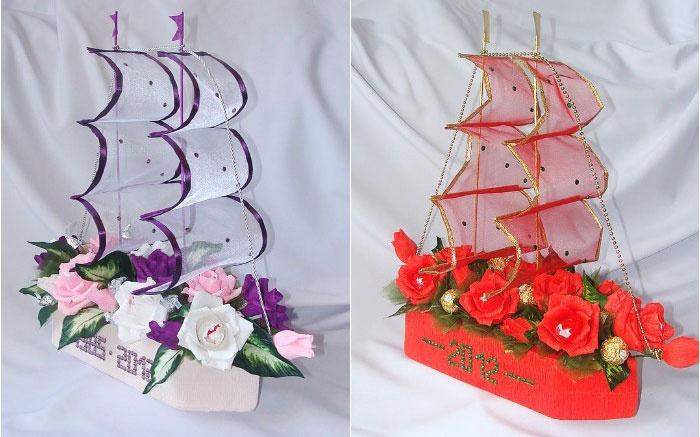 Свадебный корабль из сладостей
