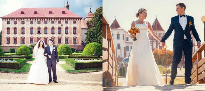 Стильные свадебные фотографии у дворца