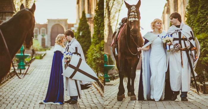 Костюмы для рыцарского сценария торжества в замке