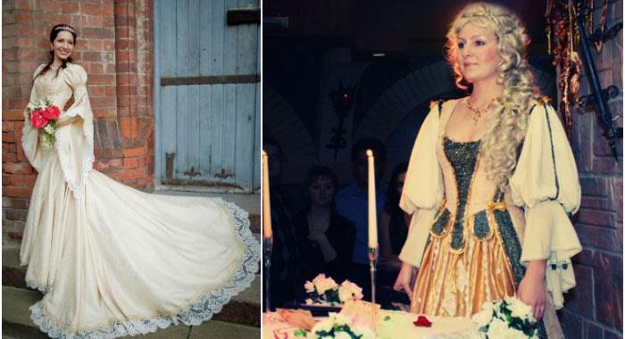 Женский средневековый наряд для свадьбы