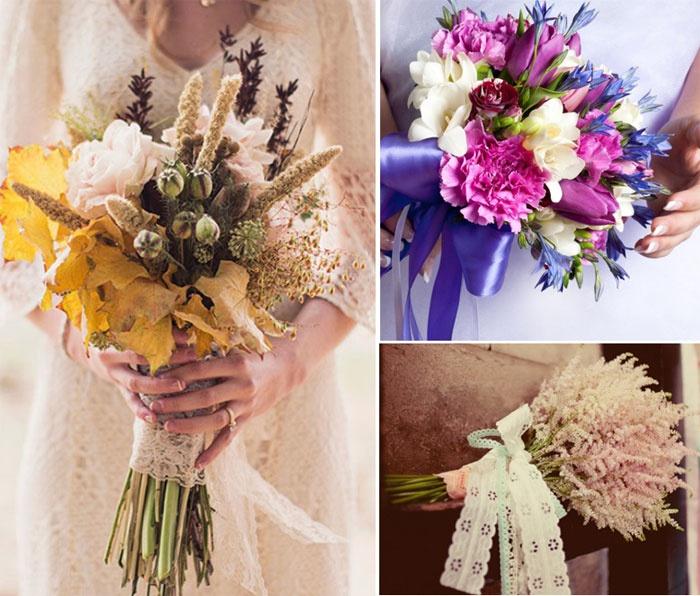 Украшенные полевые букеты на свадьбу