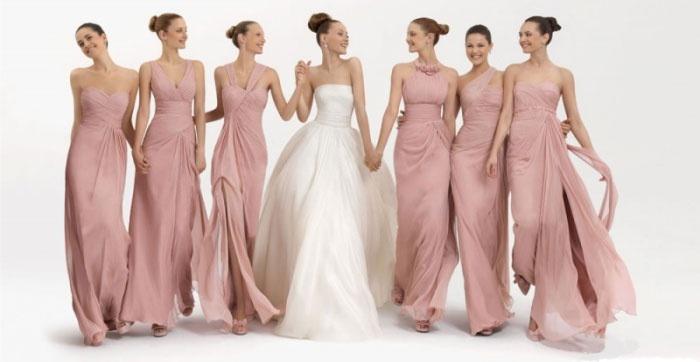 Однотонные платья дружек невесты