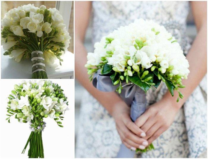 Букет невесты белой и фиолетовые фрезии фото — 12
