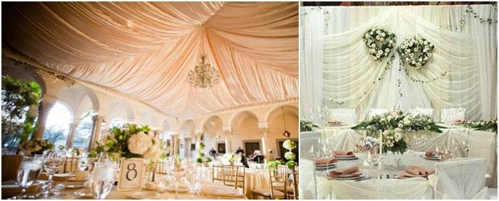 Ткани в украшении зала для свадьбы ампир