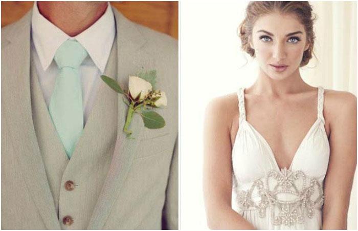 Стилизованные под ампир наряды жениха и невесты