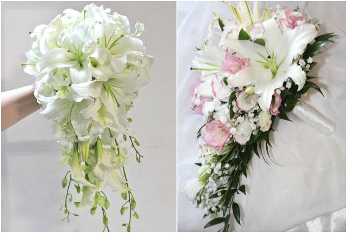 Свадебный букет орхидей и лилий инков