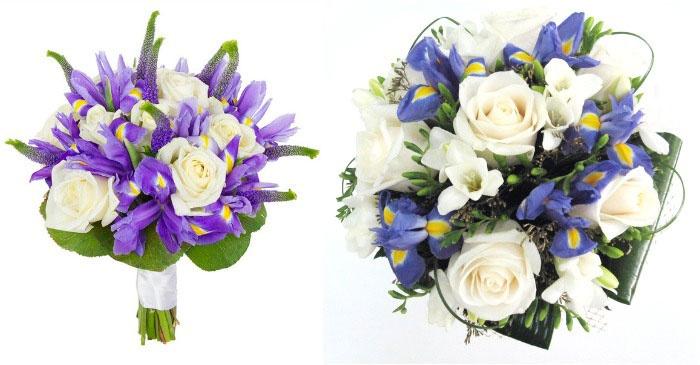 Розы в ирисовом букете невесты