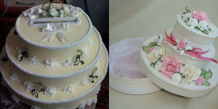Оформление свадебного сундучка в виде торта