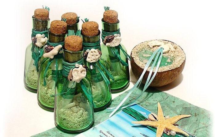 Приглашение в бутылке на морскую свадьбу