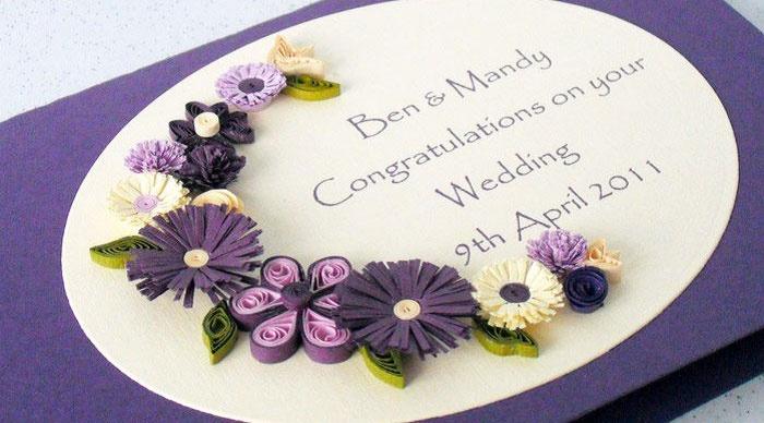 Объемные цветы из бумаги на открытке