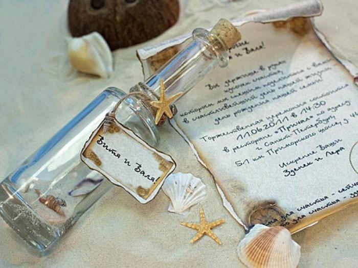 Свиток в бутылке для свадьбы