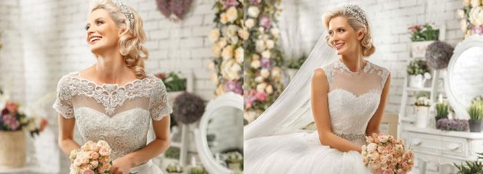 Блестящие детали на платье невесты