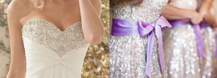 Блестящее платье невесты и дружек