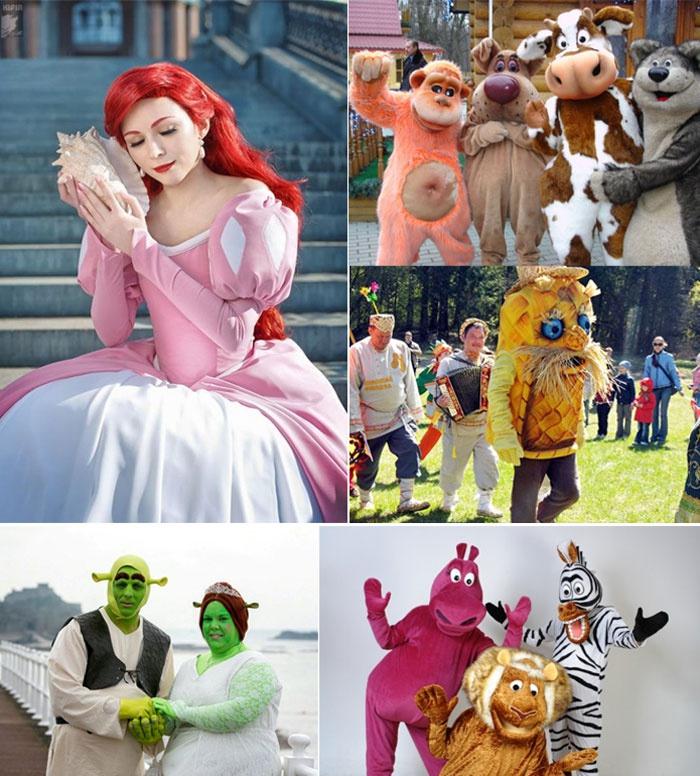 Живые игрушки и сказочные герои на свадьбе