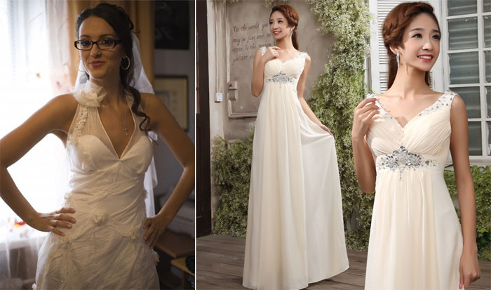 V-образный вырез свадебного наряда