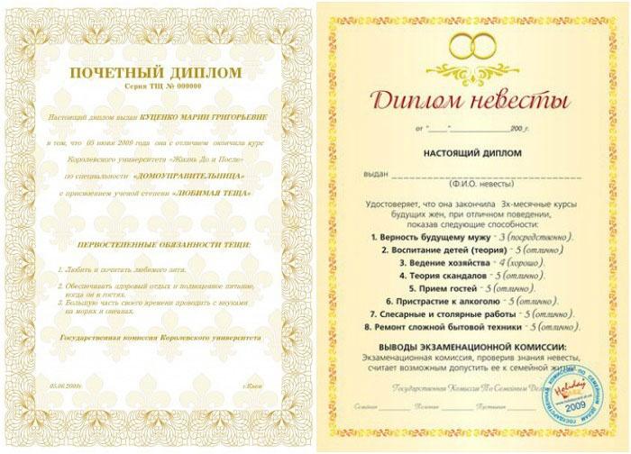 Примеры свадебных дипломов