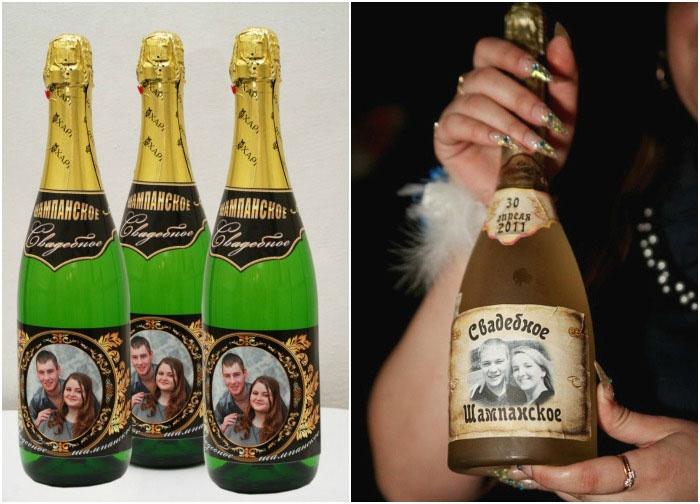 Примеры свадебных этикеток шампанского