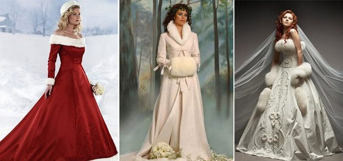 Рождественское платье невесты отличается зимними мотивами