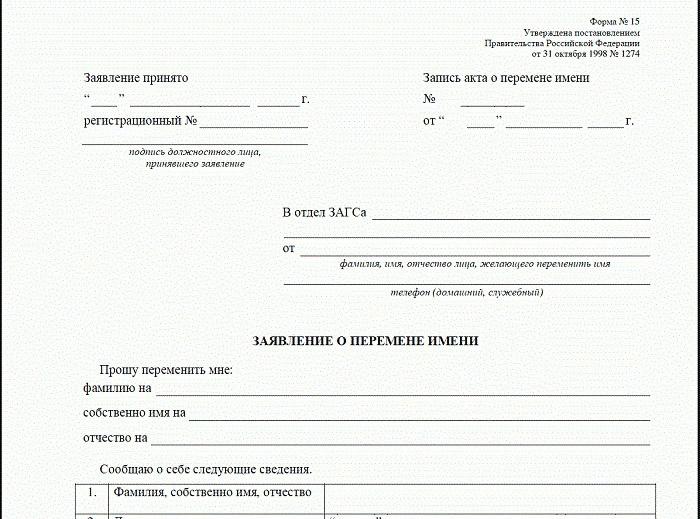 На фото образец заявления на замену фамилии
