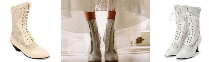 Белые сапоги в викторианском стиле