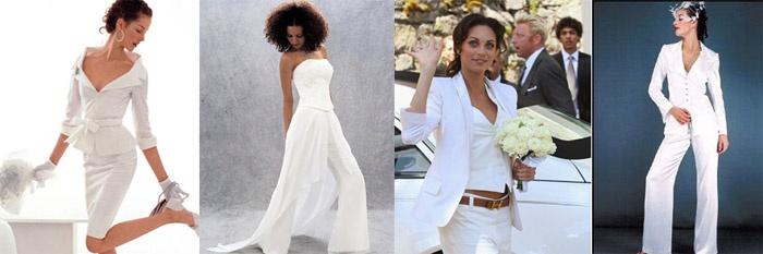 Свадебный брючный костюм с просвечивающейся юбкой