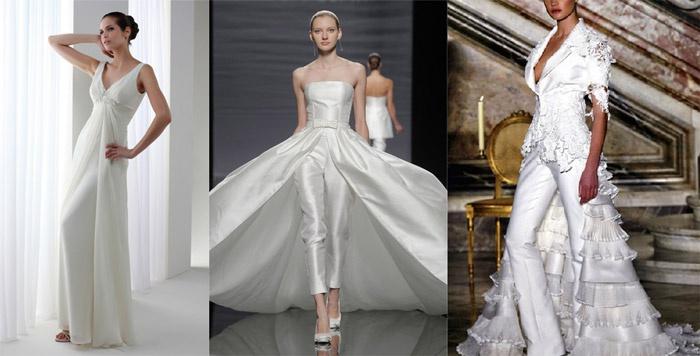 Красивый шлейф поверх брюк свадебного костюма