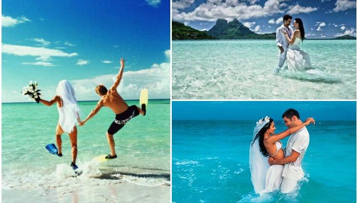 Пляжная свадебная фотосессия в воде