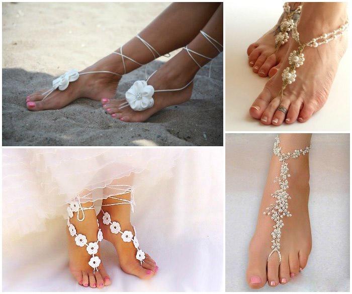 Украшение ног для свадебной росписи на пляже