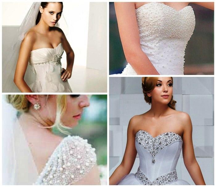 Платье для свадьбы с жемчугом