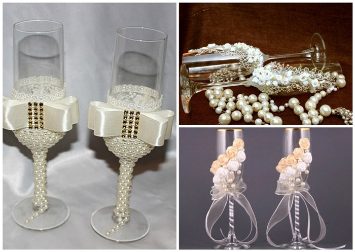 Бокалы молодых на свадьбу с жемчугом