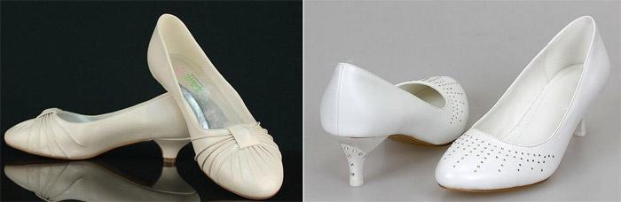 Туфли невесты на маленьком каблуке