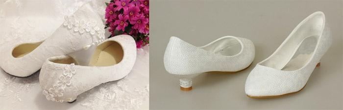 Свадебные туфли на маленьком каблуке