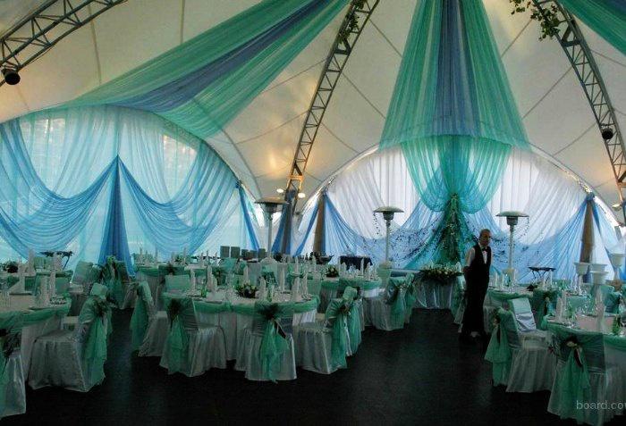 Оформление свадебного зала тканью в виде балдахинов