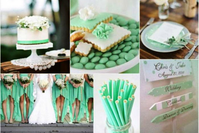 Модные мятные тона на свадьбе