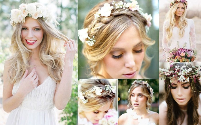 Модные прически невесты с живыми цветами