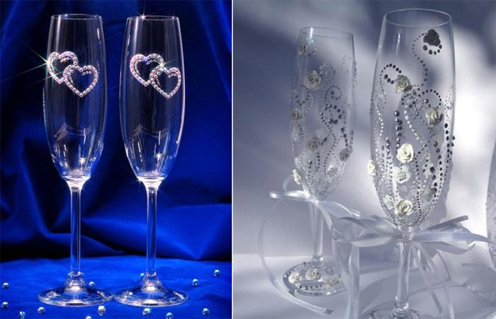 Свадебные бокалы со стразами своими руками