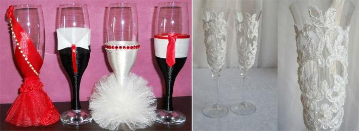Свадебные бокалы, украшенные при помощи атласных лент и кружев