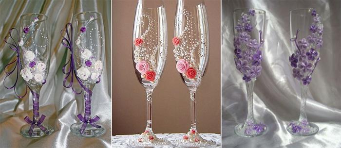 Свадебные бокалы, декорированные цветами из фарфора