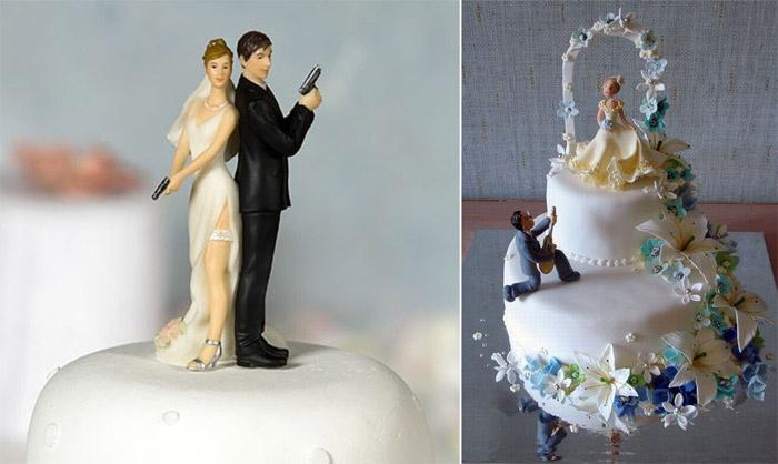 Статуэтки на свадебной выпечке