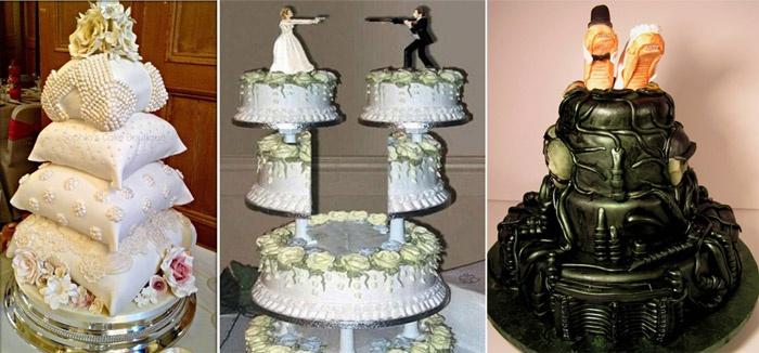 Смешные и нетрадиционные свадебные торты