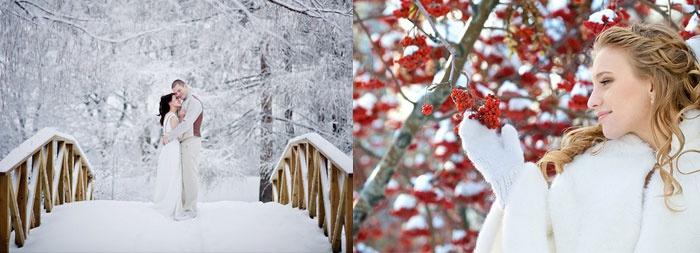 Красивые места для зимней фотосъемки молодоженов