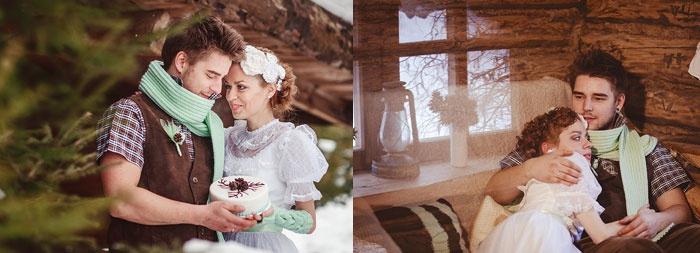 Снежная свадьба: уют загородного дома