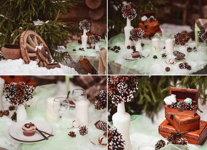 Зимние свадебные фото в уютном ресторанчике