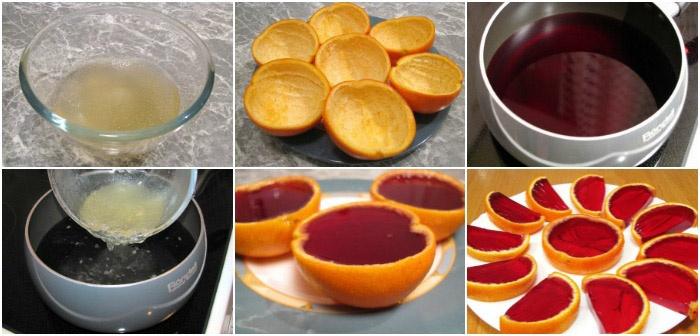 Апельсиновая кожура с вишневым желе